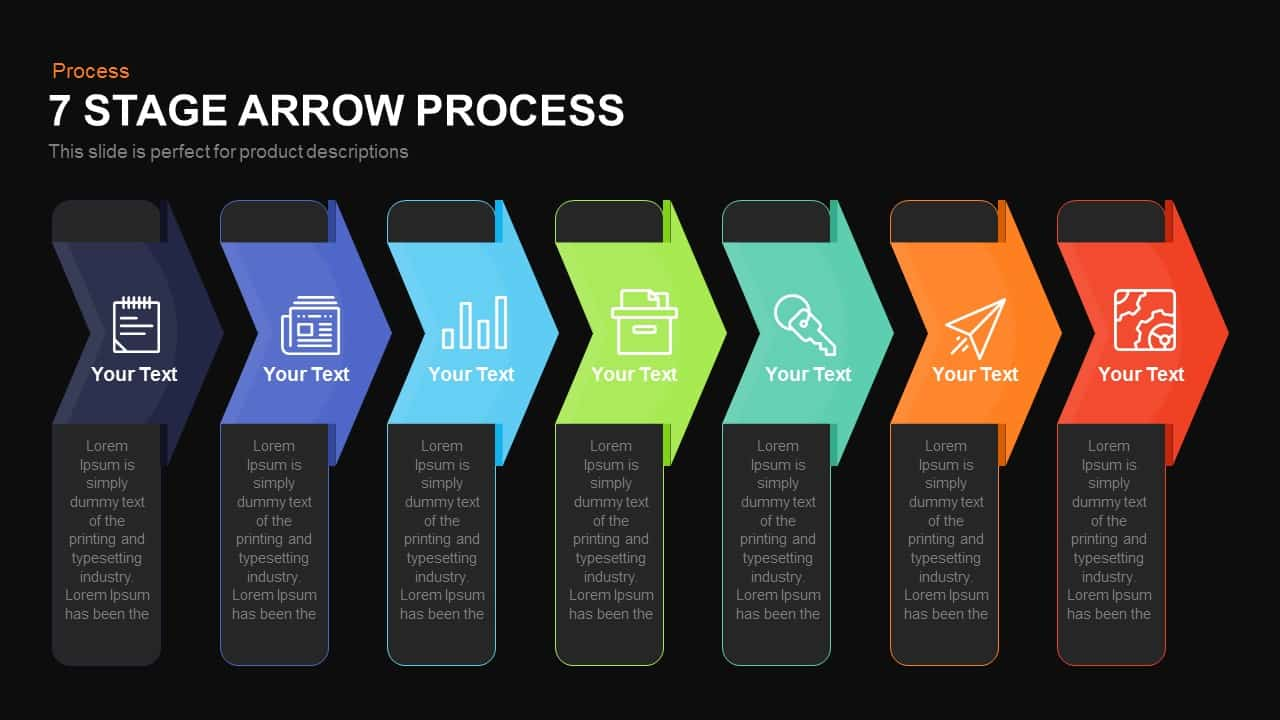 7 stage process arrow powerpoint template