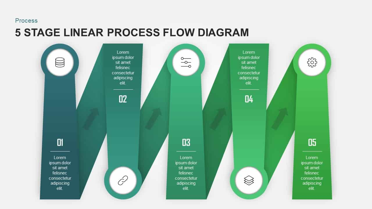 5 Stage Linear Process Flow Diagram