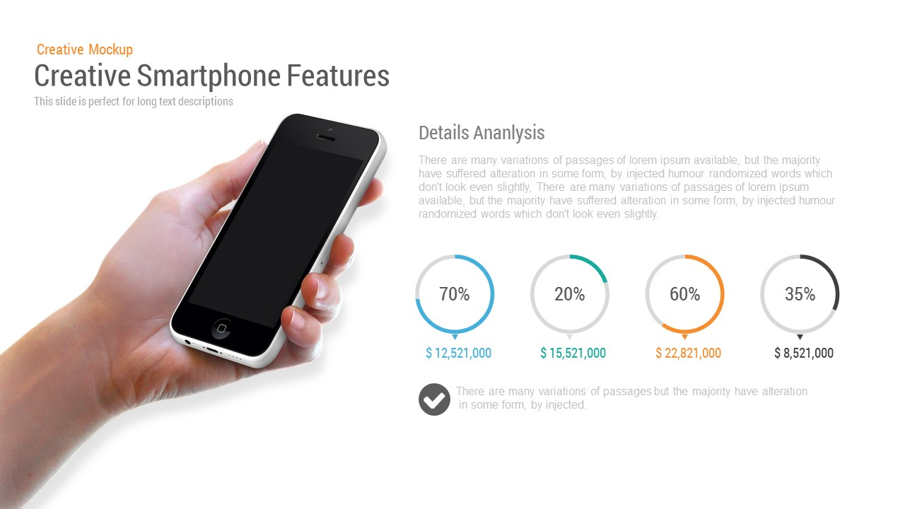 Creative Smartphone Feature PowerPoint Template and Keynote Slide