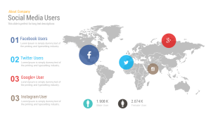Social Media Map Users Free PowerPoint Template and Keynote