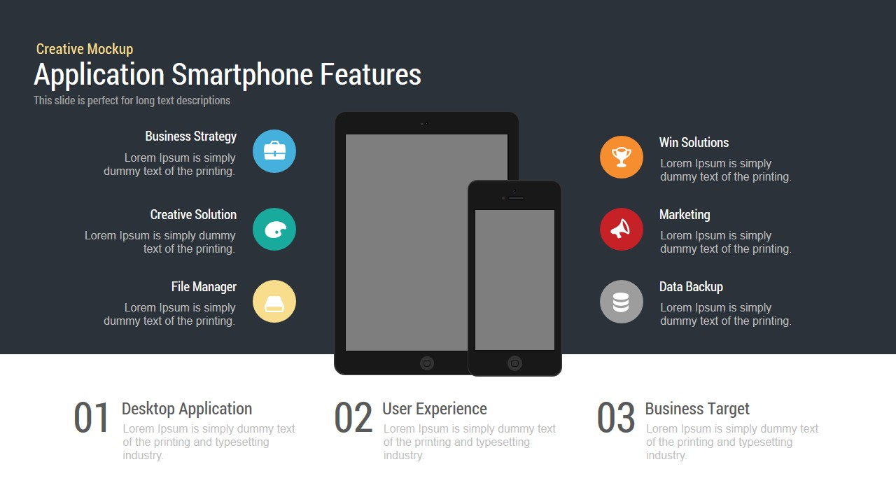 Application Smartphone Features Powerpoint and Keynote template