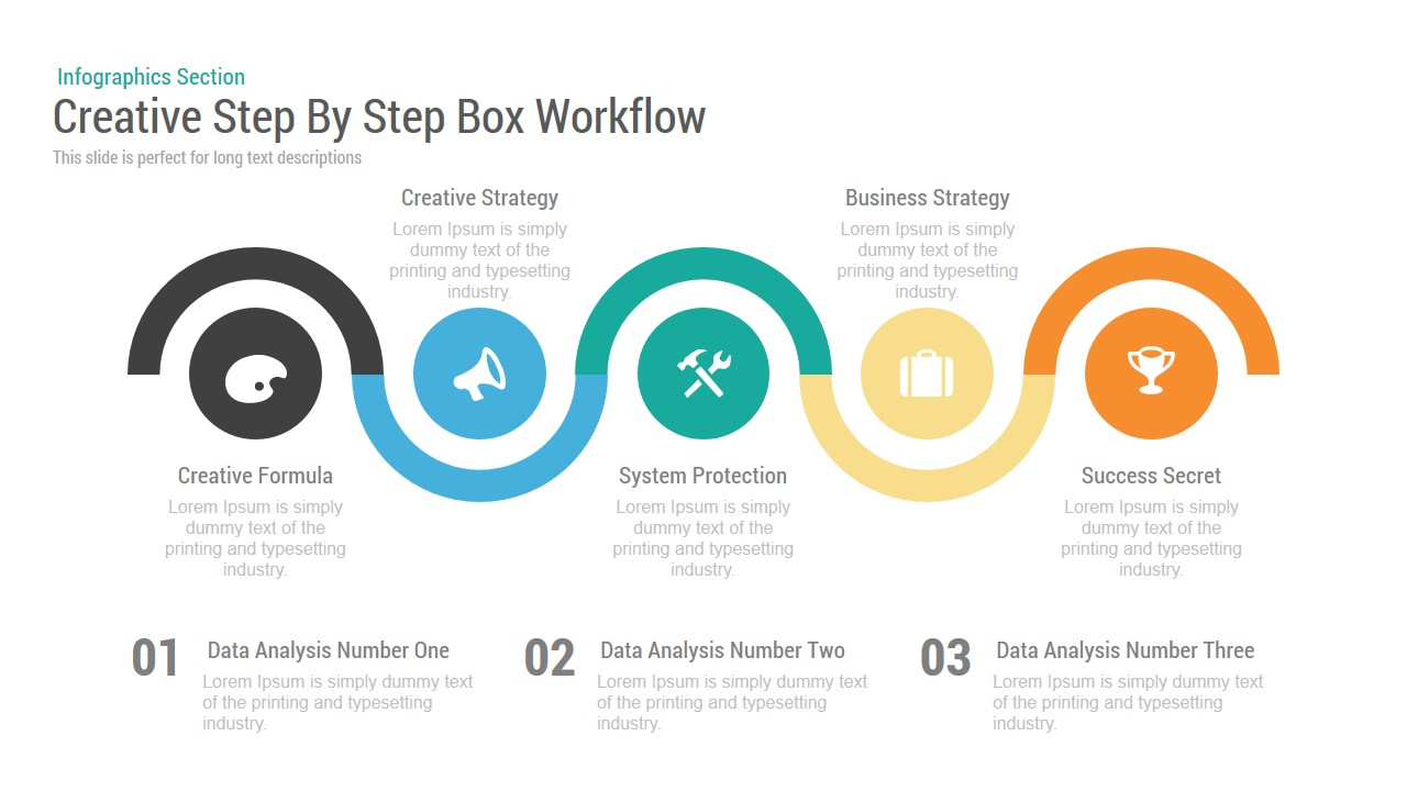 Creative Step By Step Box Workflow PowerPoint Template and Keynote Slide
