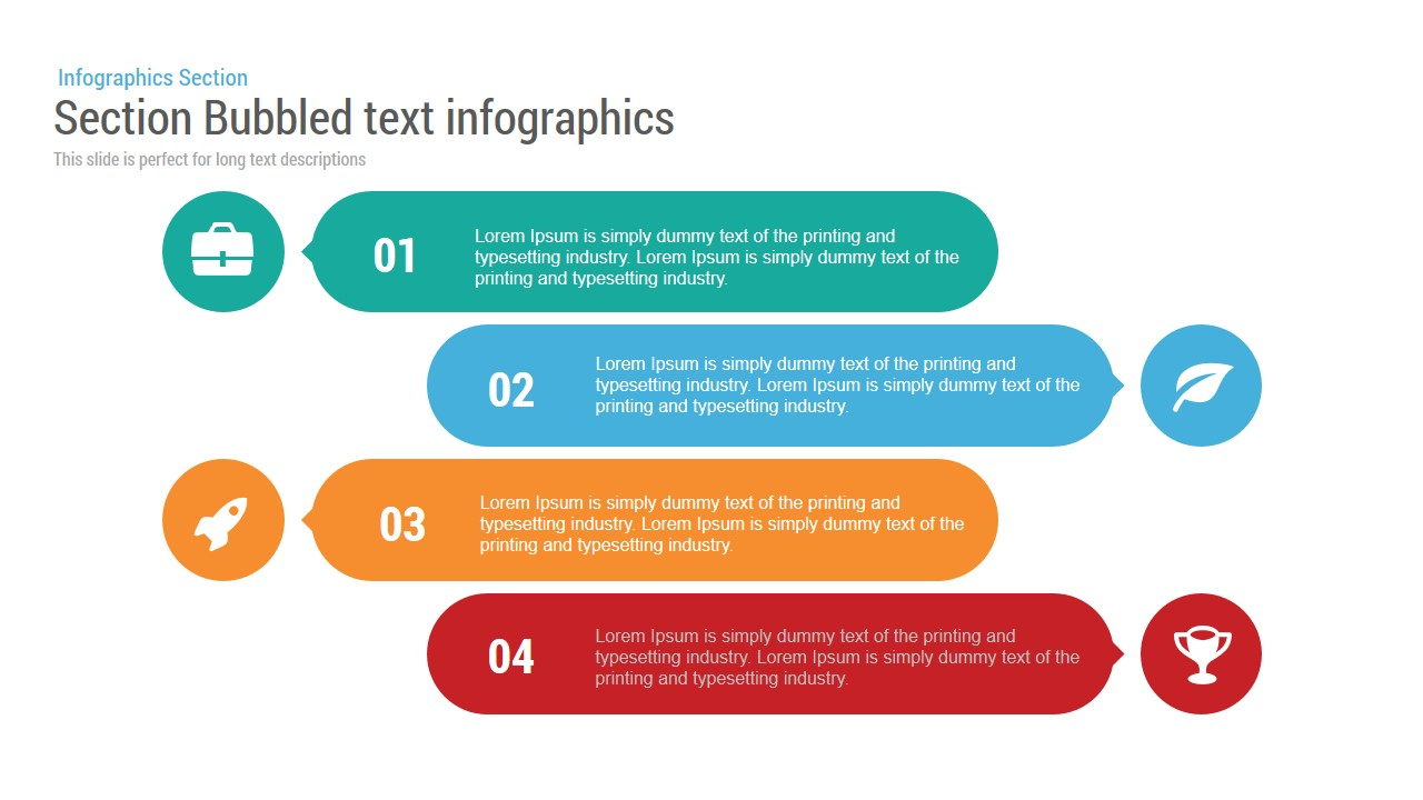 Section Bubbled text infographics Powerpoint and Keynote template