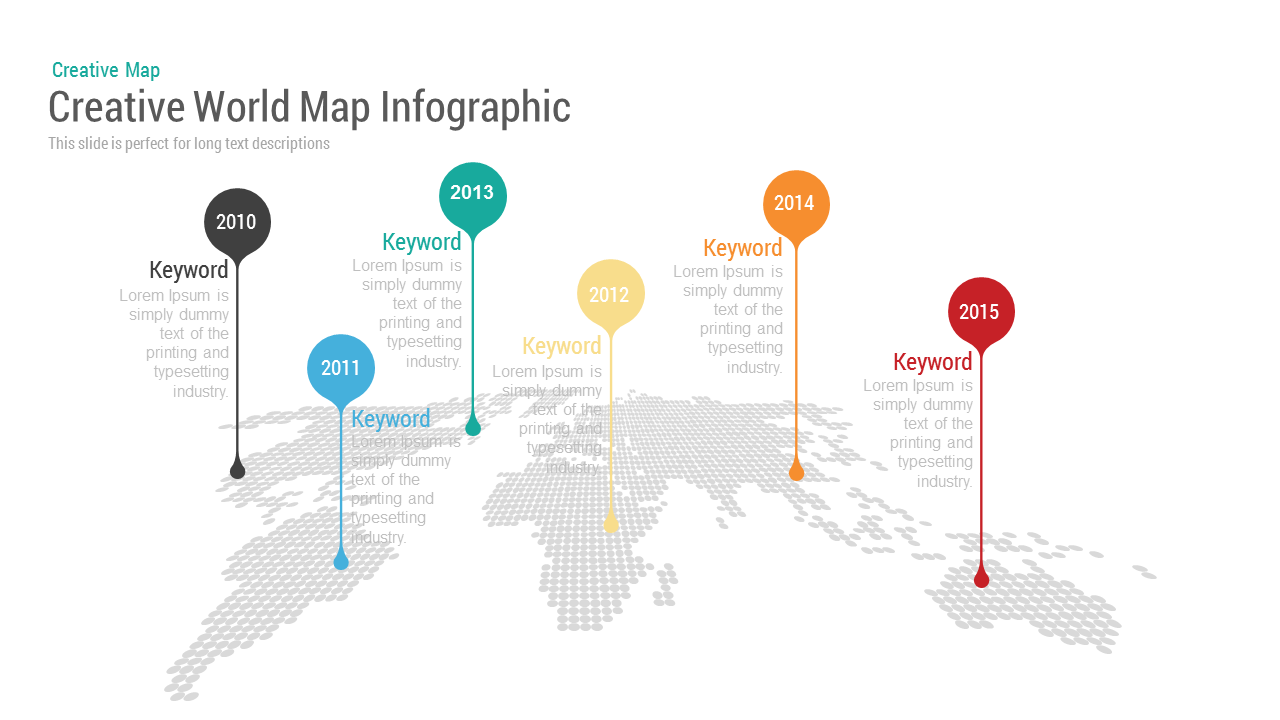 Image of: Creative World Map With Bubbles Powerpoint Keynote Template