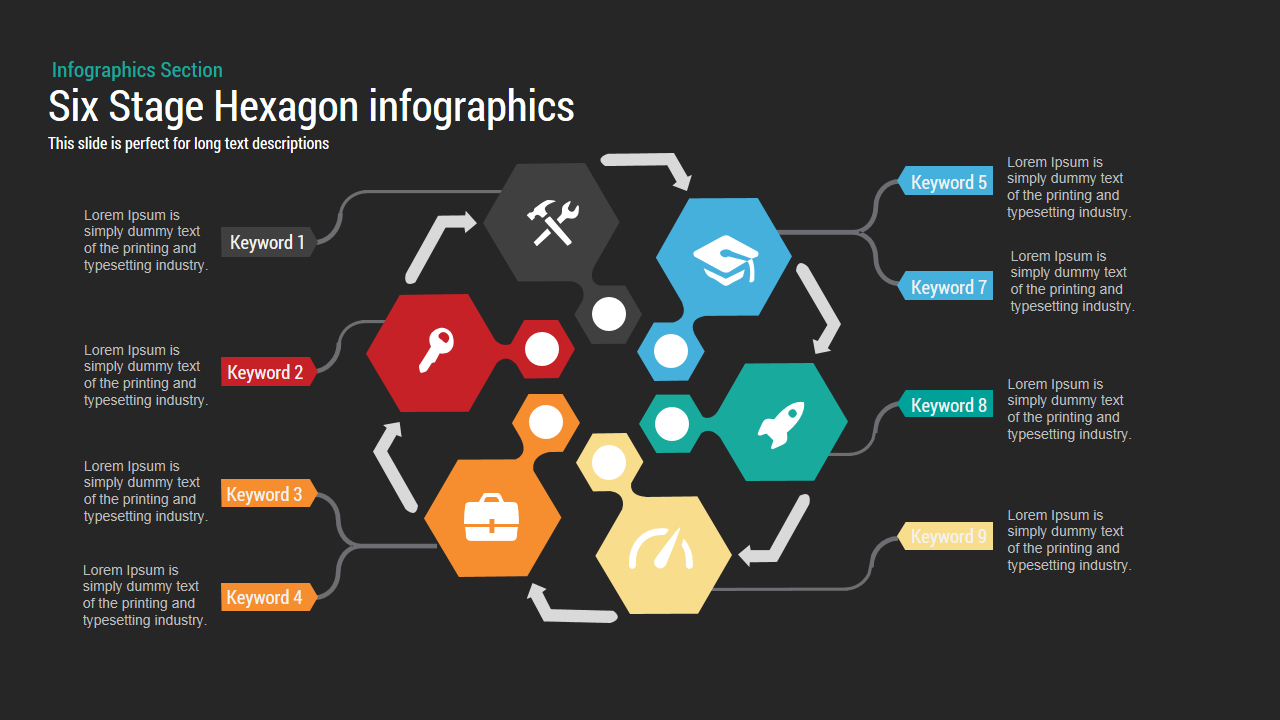 Six Stage Hexagon Chart PowerPoint Template and Keynote Slide