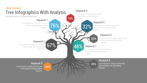 Tree Infographics with Analysis PowerPoint Template and Keynote Slide