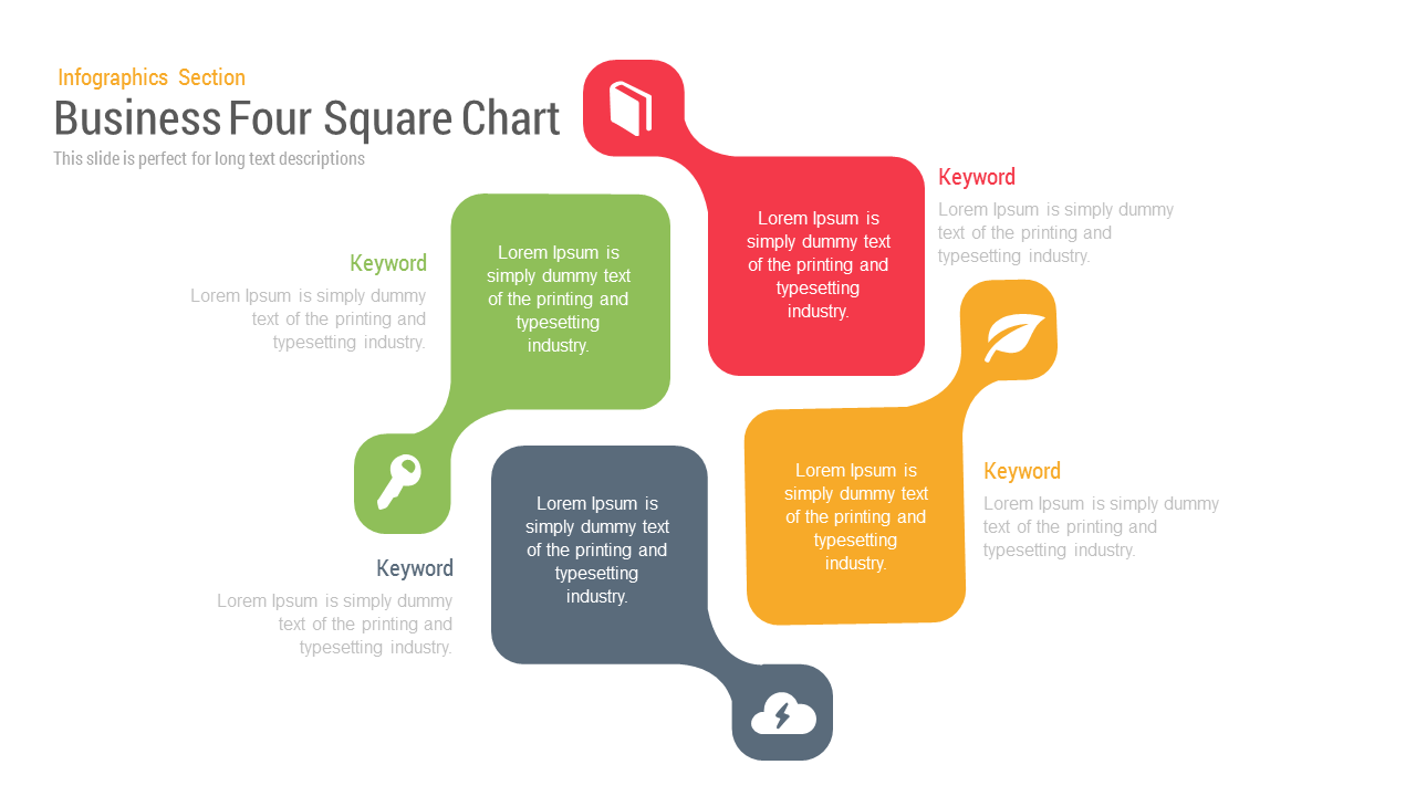 Business four square PowerPoint template and keynote