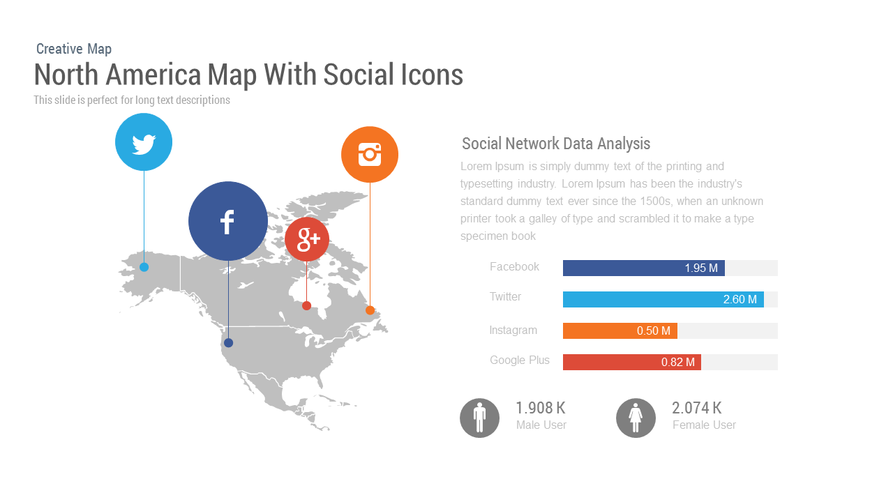 North America Map PowerPoint Template and Keynote With Social Icons