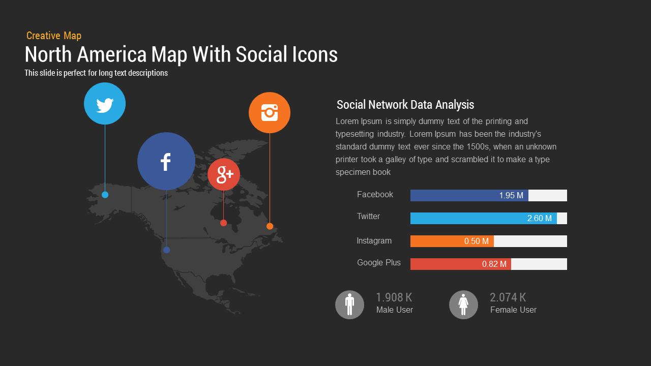 North America Map With Social Icons PowerPoint and Keynote template