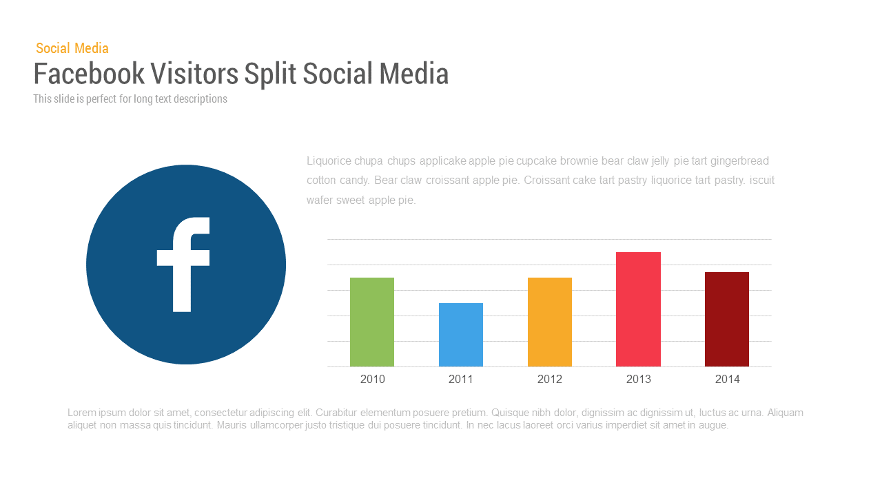 Social media report template : Facebook Visitors Chart PowerPoint and keynote slide