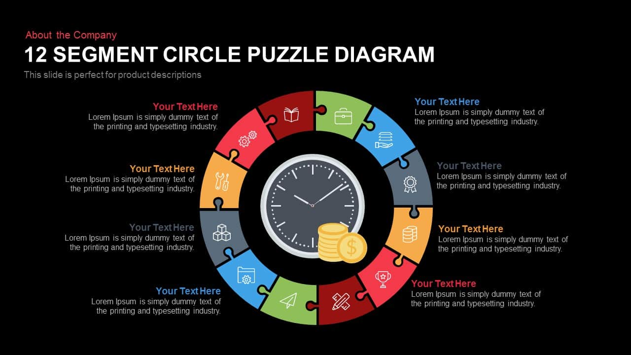 12 Segment Circle Puzzle Diagram Template For Powerpoint