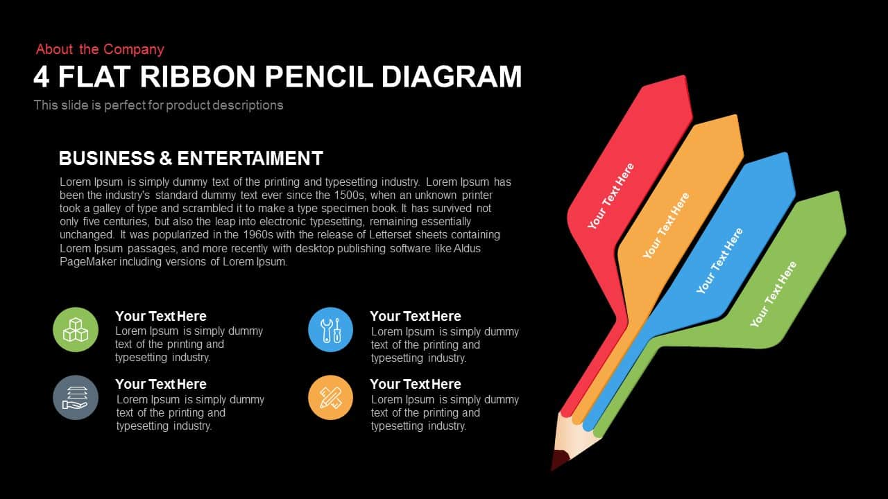 4 Flat Ribbon Pencil Diagram