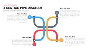 4 Section Pipe Diagram PowerPoint Template and Keynote