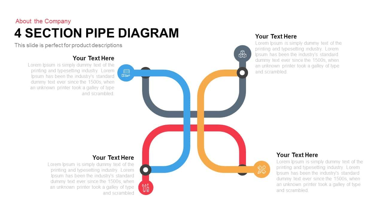 4 Section Pipe Diagram PowerPoint Template