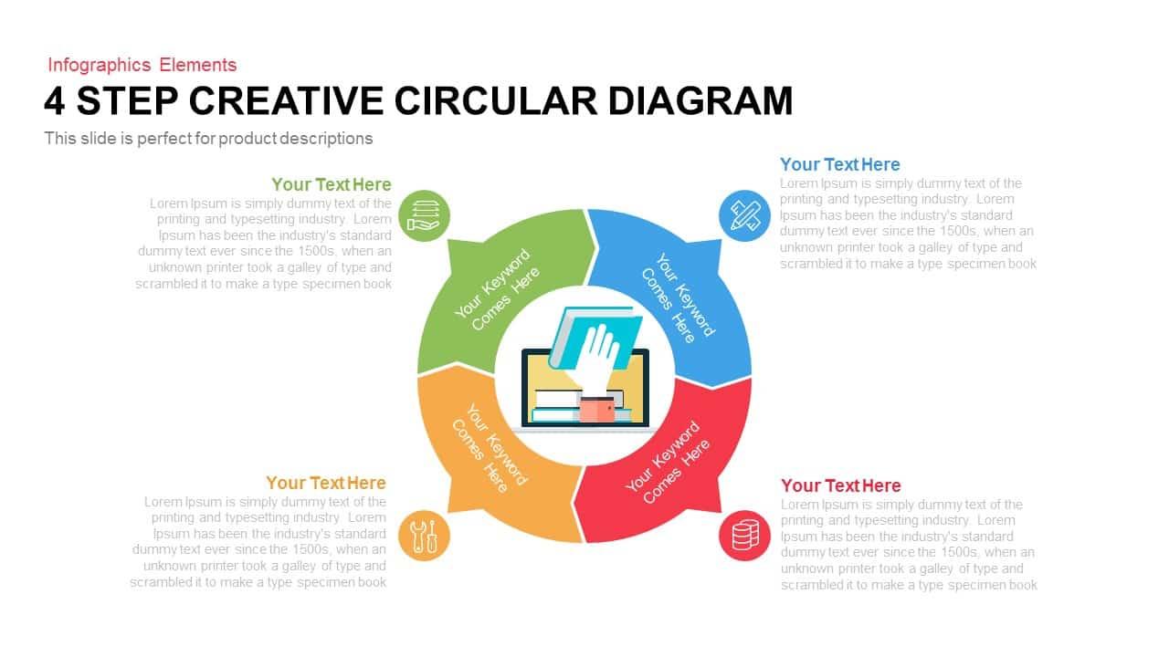 4 Step Creative Circular Diagram PowerPoint Template and Keynote Slide