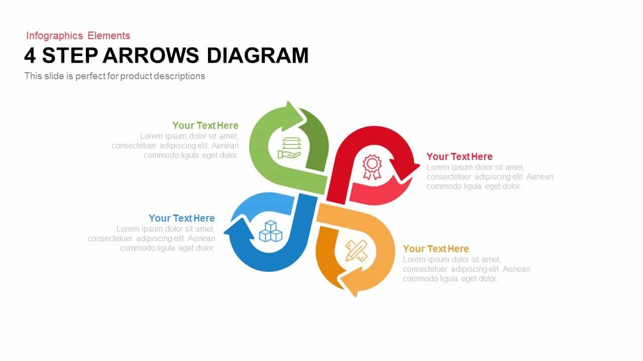 4 Step Arrows Diagram PowerPoint Template and Keynote Slide