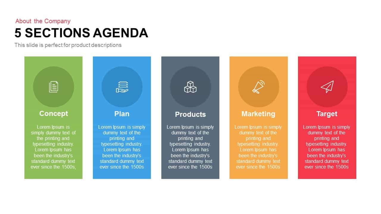 5 Sections Agenda PowerPoint Template