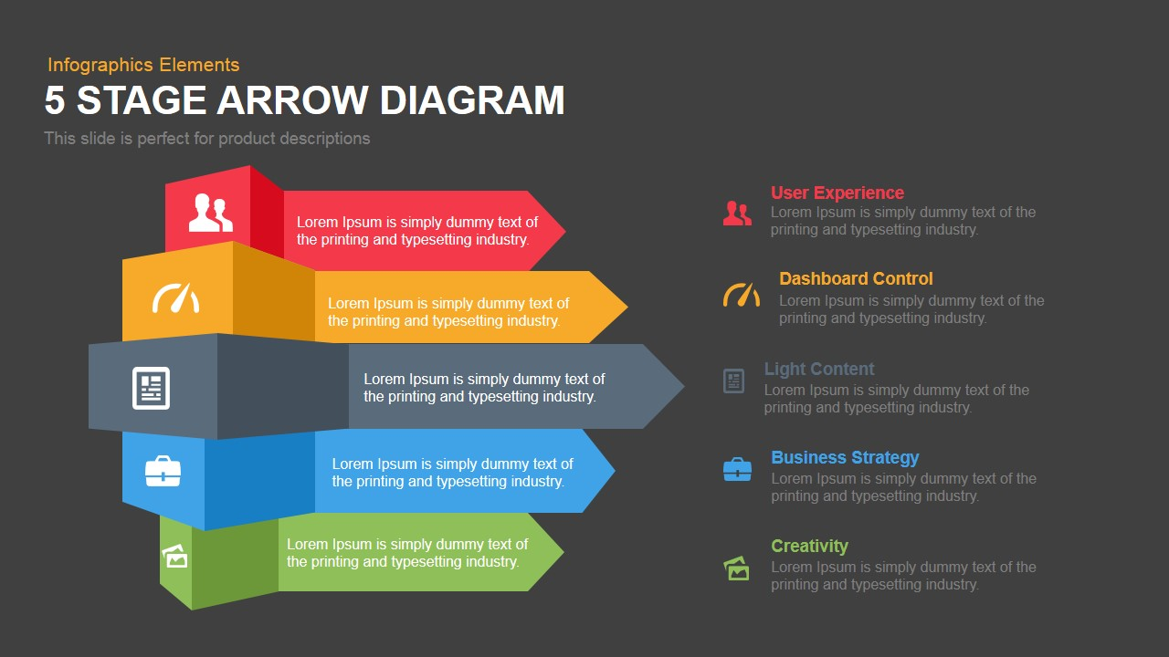 5 Stage Arrow Diagram Template For Powerpoint Keynote Slidebazaar