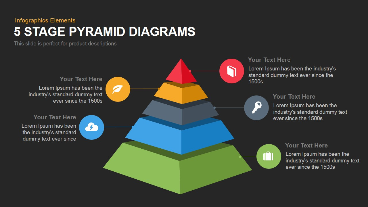 5 Stage Pyramid Diagrams Powerpoint Keynote template