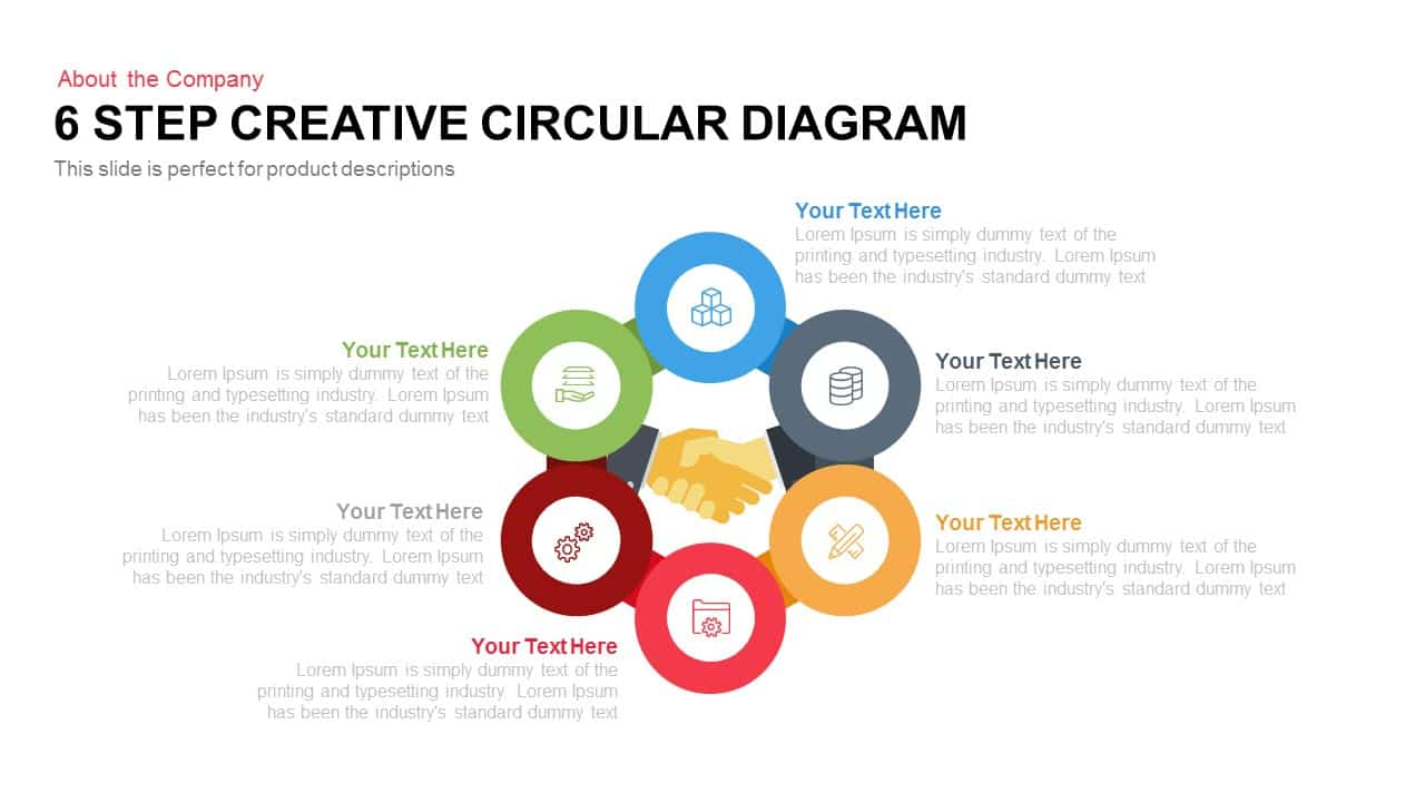 6 Step Creative Circular Diagram for PowerPoint and Keynote