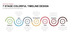 7 Stage Colourful Timeline Design Template for PowerPoint and Keynote