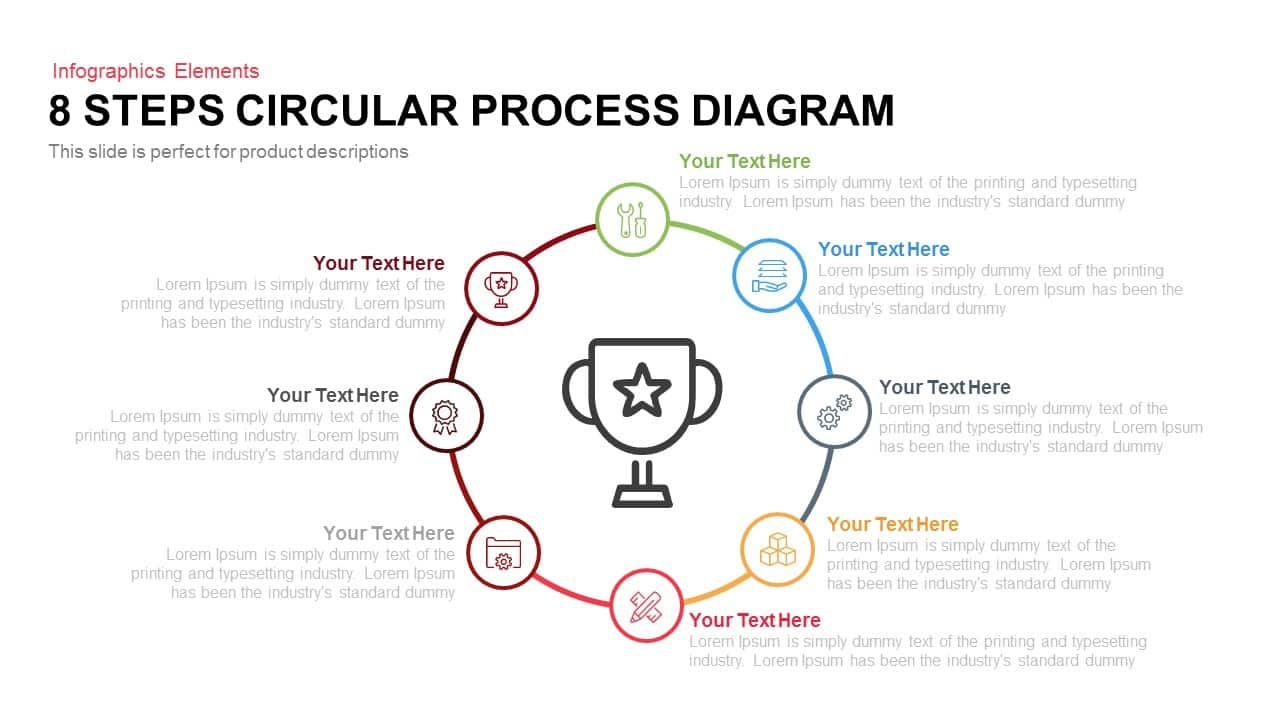 8 Steps Circular Process Diagram Template for PowerPoint and Keynote