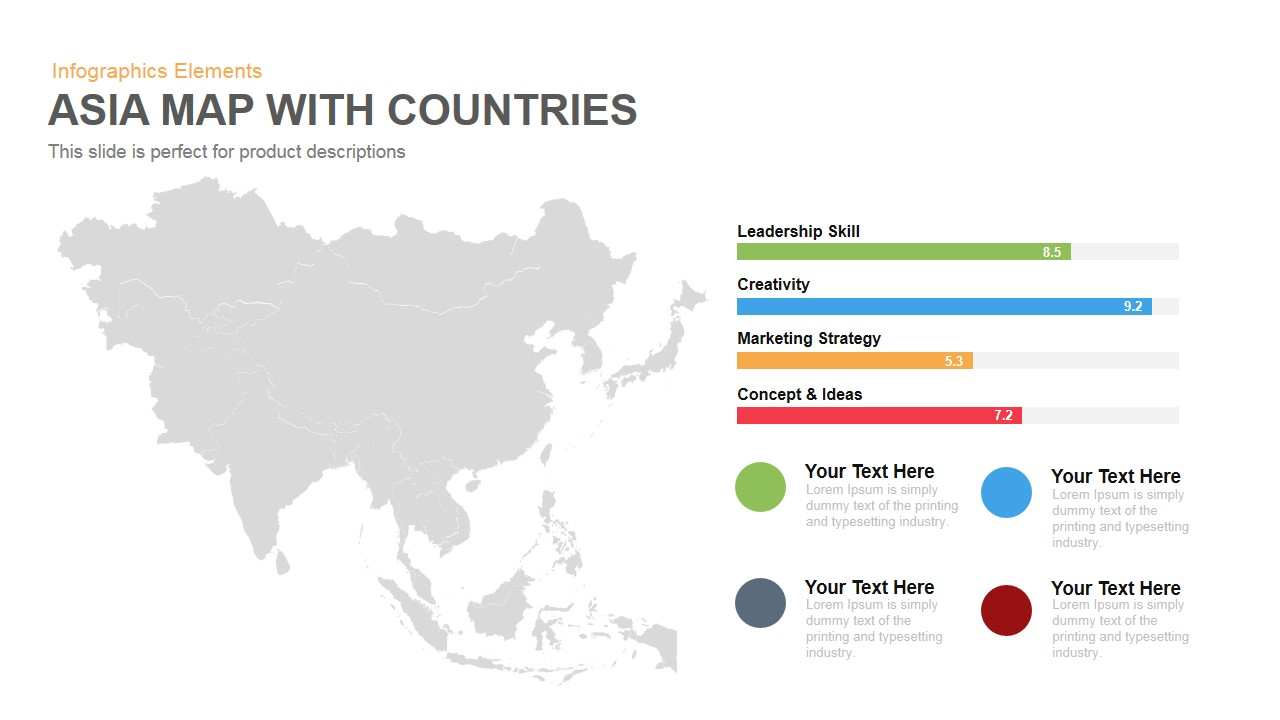 Map Of Asia Template.Asia Map Powerpoint Template And Keynote With Countries Slidebazaar