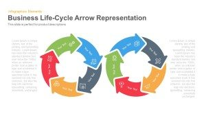 Business Life Cycle Arrow Representation PowerPoint Template and Keynote Slide