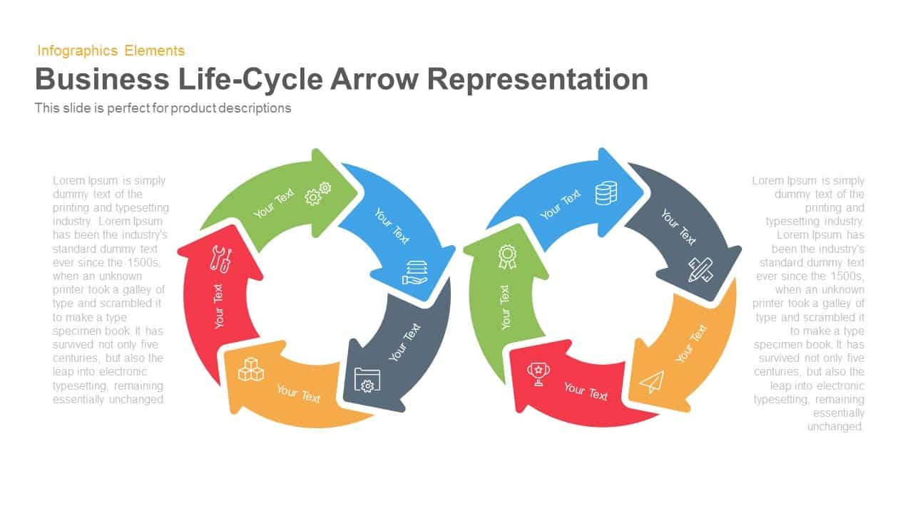Business Life Cycle Template Arrow Representation for PowerPoint and Keynote