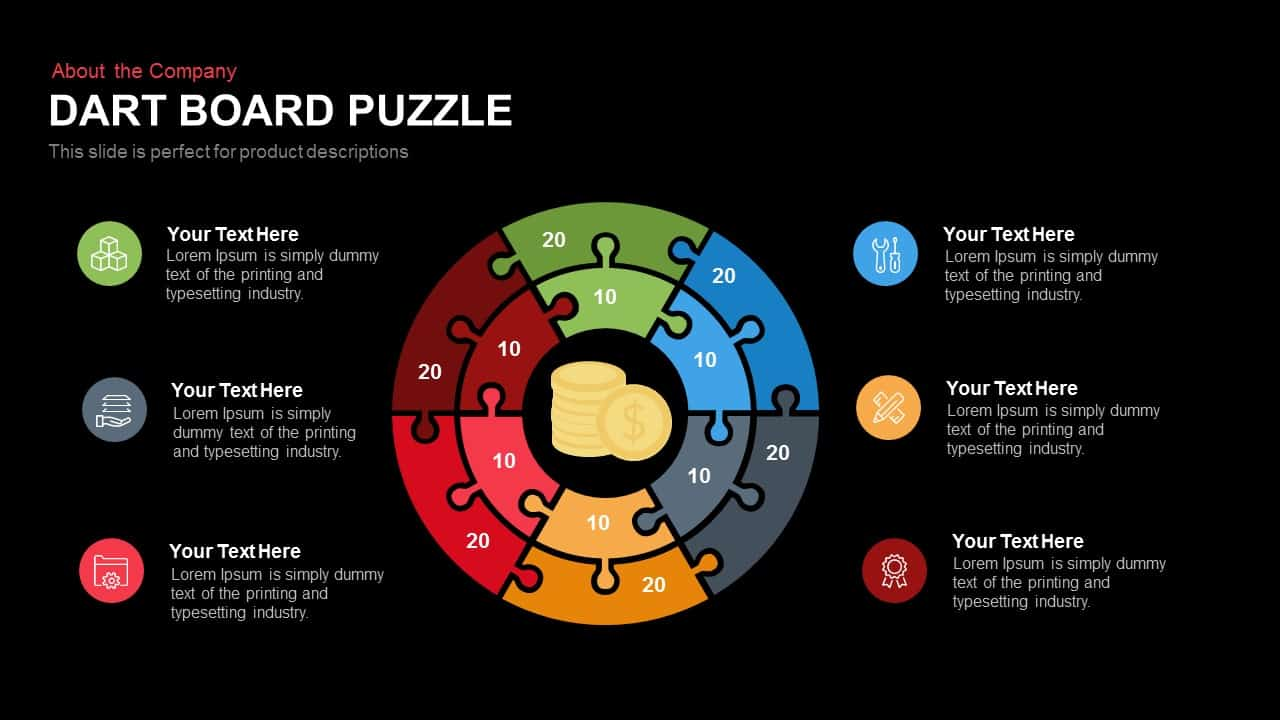 Dart Board Puzzle PowerPoint Template and Keynote Slide