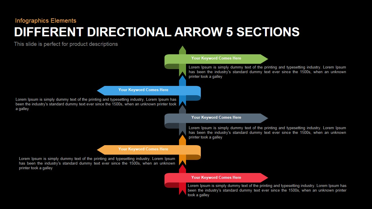 Different Directional Arrow Powerpoint Template and Keynote