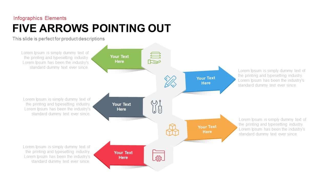5 Arrows Pointing Out PowerPoint Template