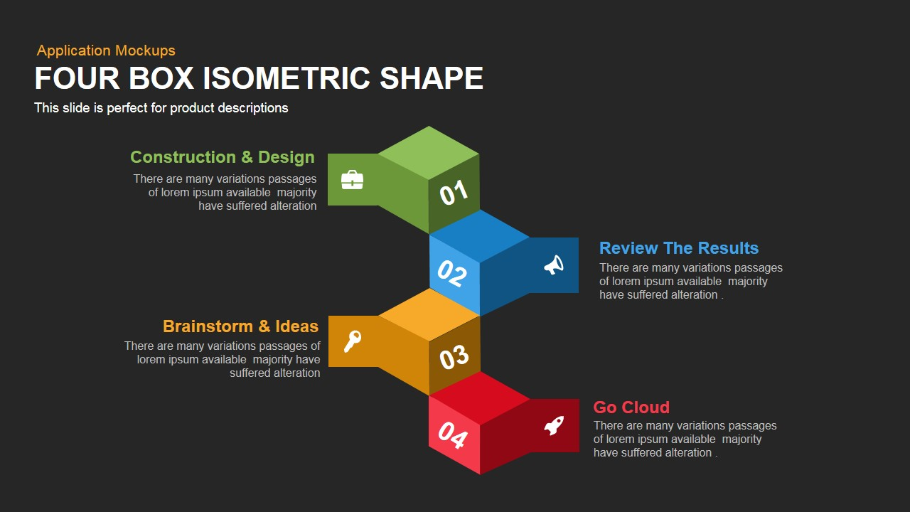 Four Box PowerPoint Isometric Shapes and Keynote Slide