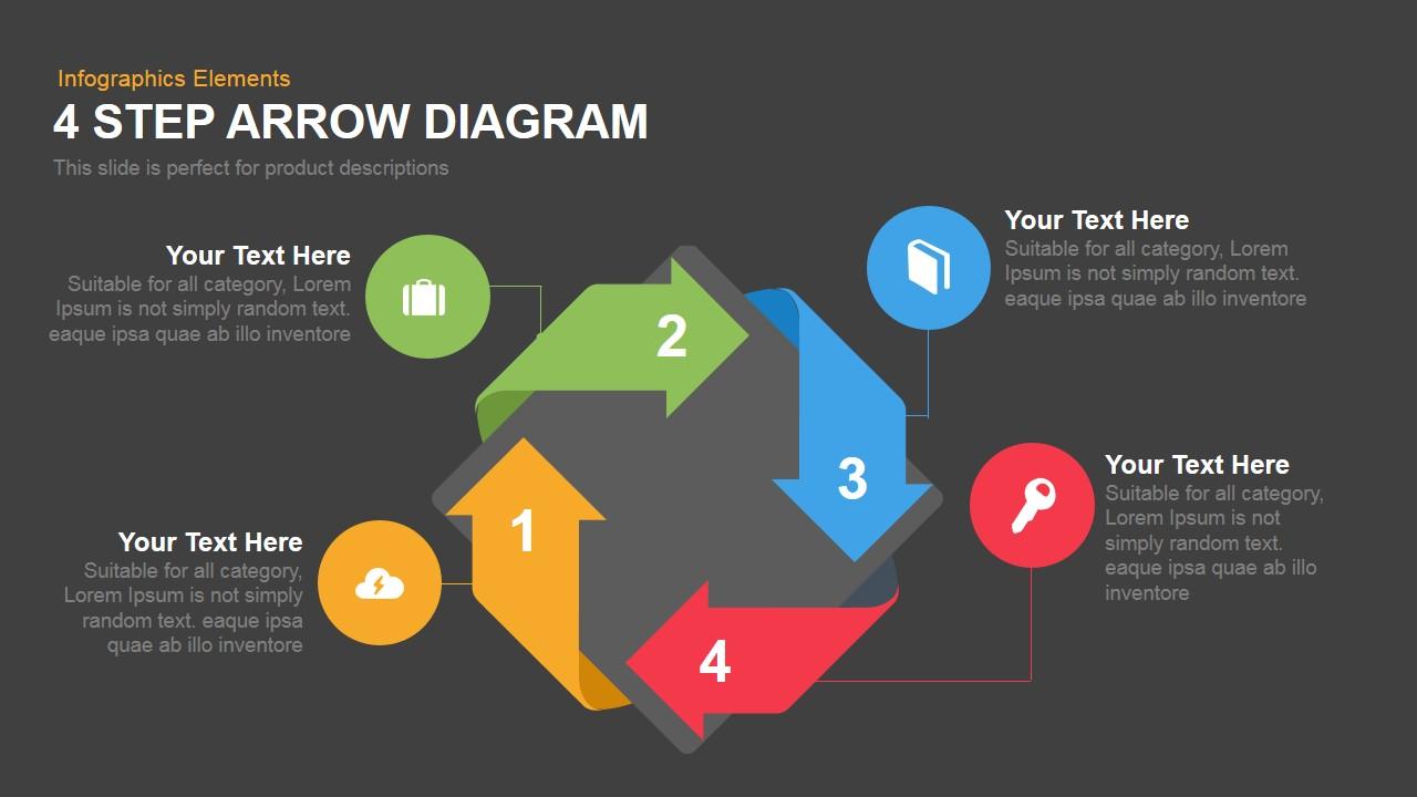 Four Step Arrow Diagram Powerpoint Keynote template