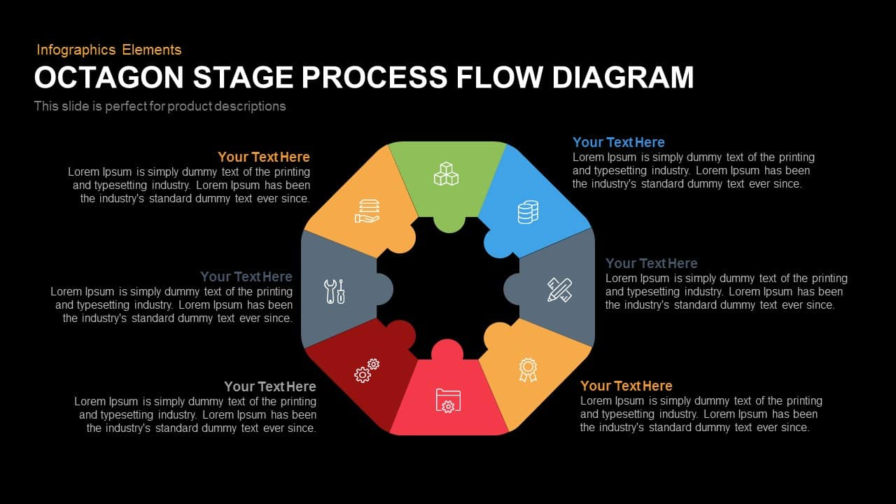 Octagon Stage Process Flow Diagram PowerPoint Template and Keynote Slide