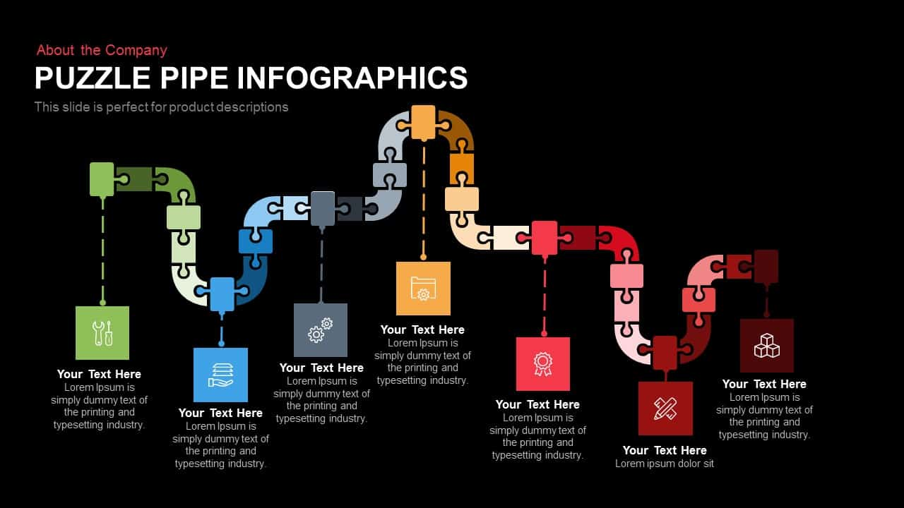 Puzzle Pipe Infographics Template for PowerPoint and Keynote Slide