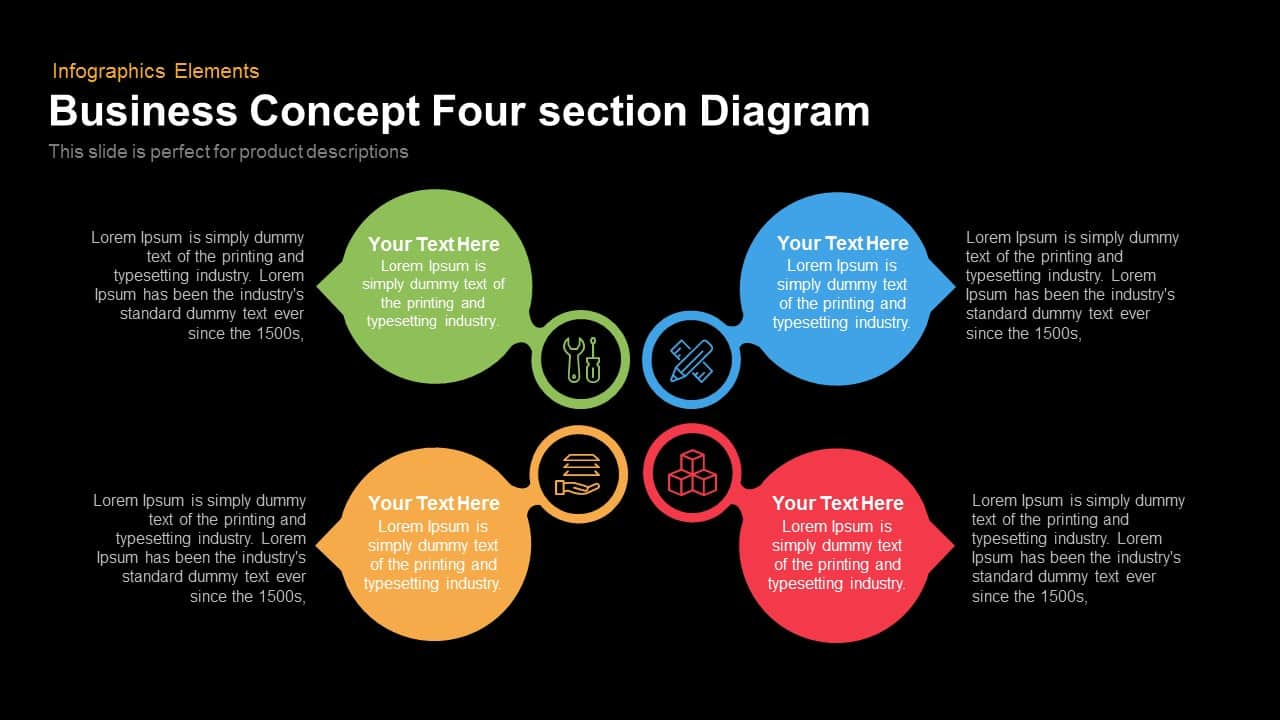 business concept four section diagram 1 4 section business concept diagram for powerpoint & keynote