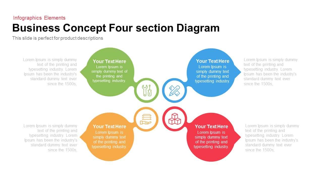 business concept four section diagram 4 section business concept diagram for powerpoint & keynote