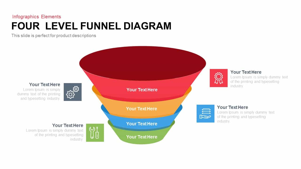 4 Level Funnel Diagram PowerPoint Template and Keynote Slide