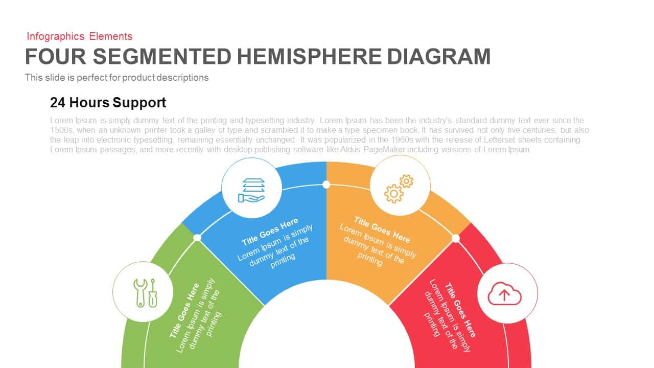 four segmented hemisphere diagram for powerpoint and keynote