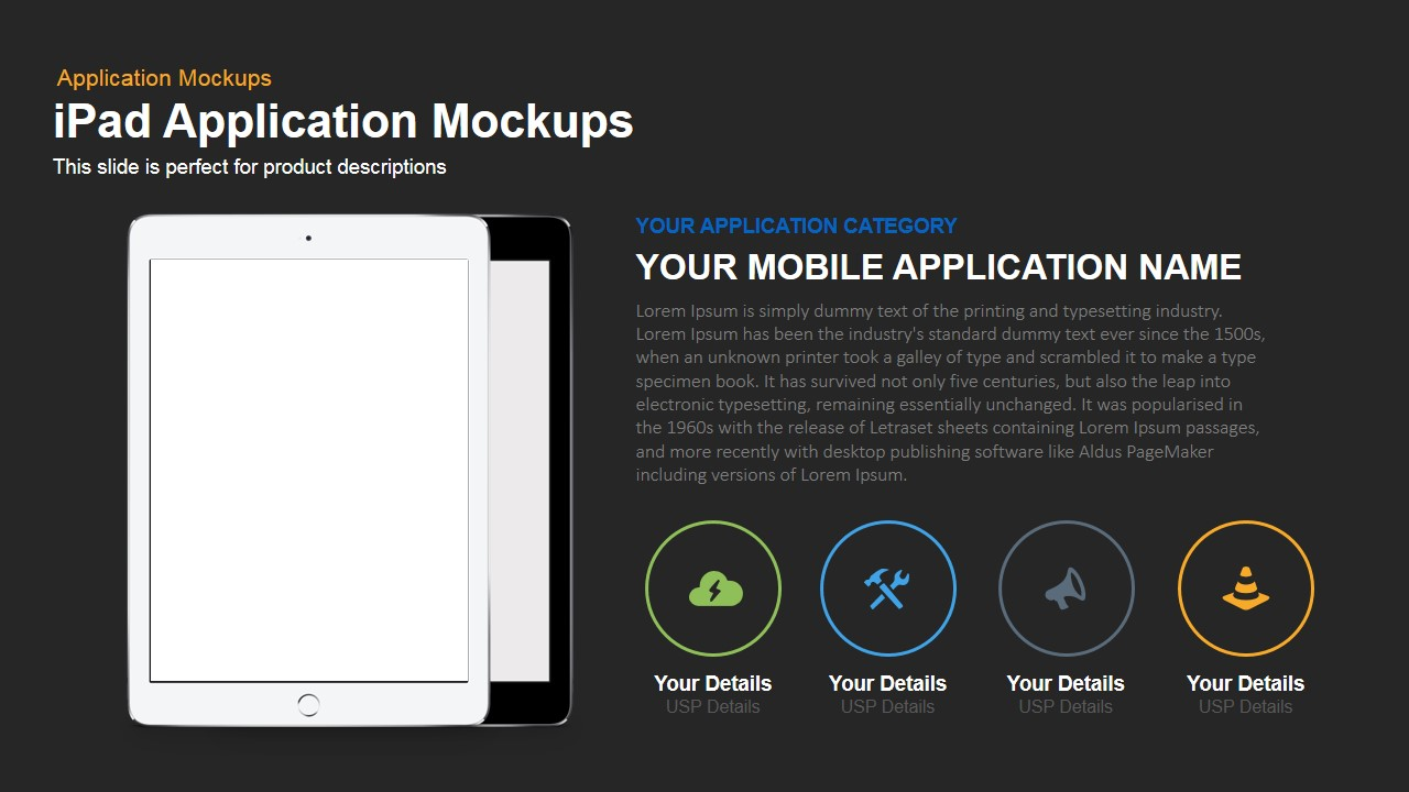 iPad Application Mockup Powerpoint and Keynote