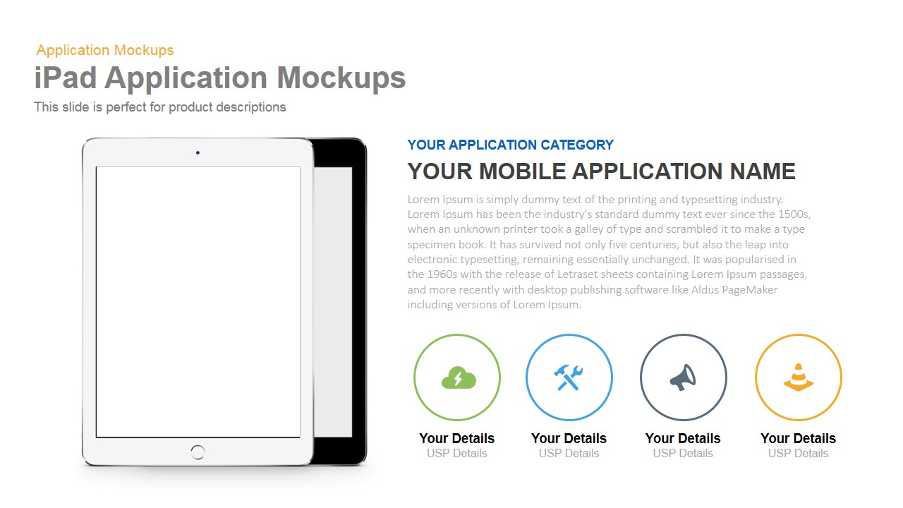 iPad Application Mockup PowerPoint Template and Keynote Slide