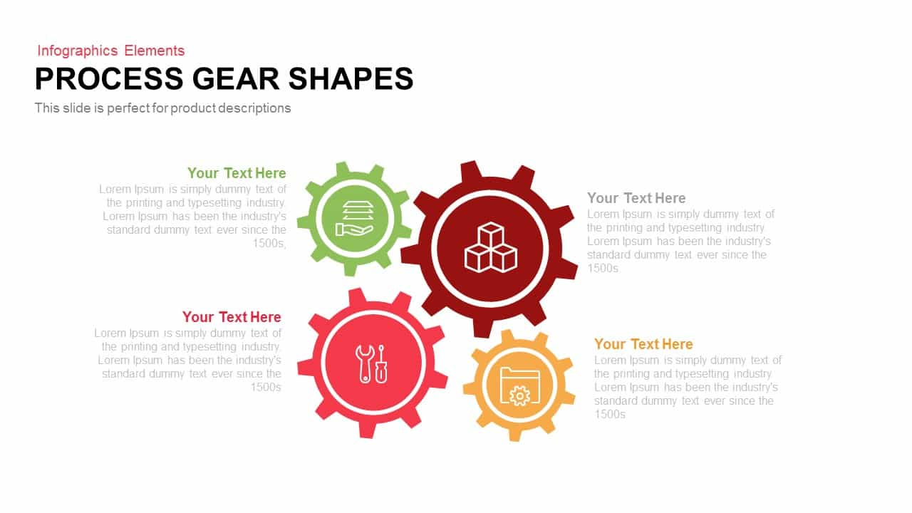 Process Gear Shapes For PowerPoint Template and Keynote Slide