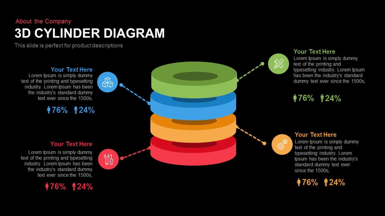 3d Cylinder Diagram Powerpoint and Keynote template