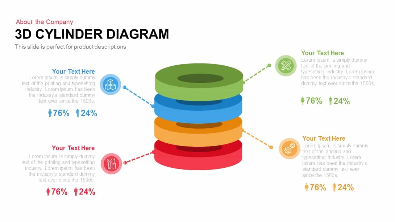 3d Cylinder Diagram Template For Powerpoint And Keynote