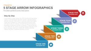 Five Stage Infographic Arrow PowerPoint Template and Keynote Slide