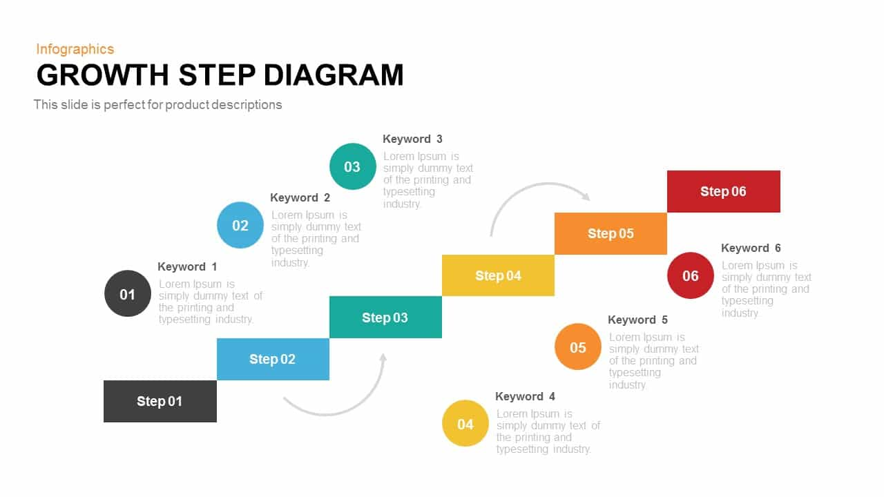 Growth steps template diagram PowerPoint and keynote slide