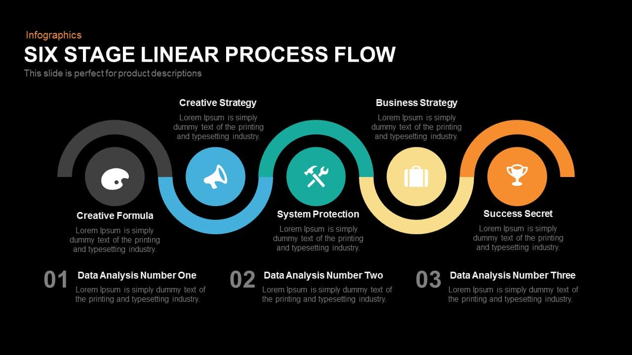 Six Stage Linear Process Flow Powerpoint Keynote