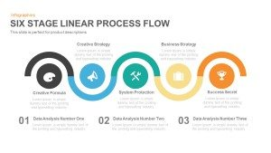 5 Stage Linear Process Flow Template for PowerPoint and Keynote Presentation