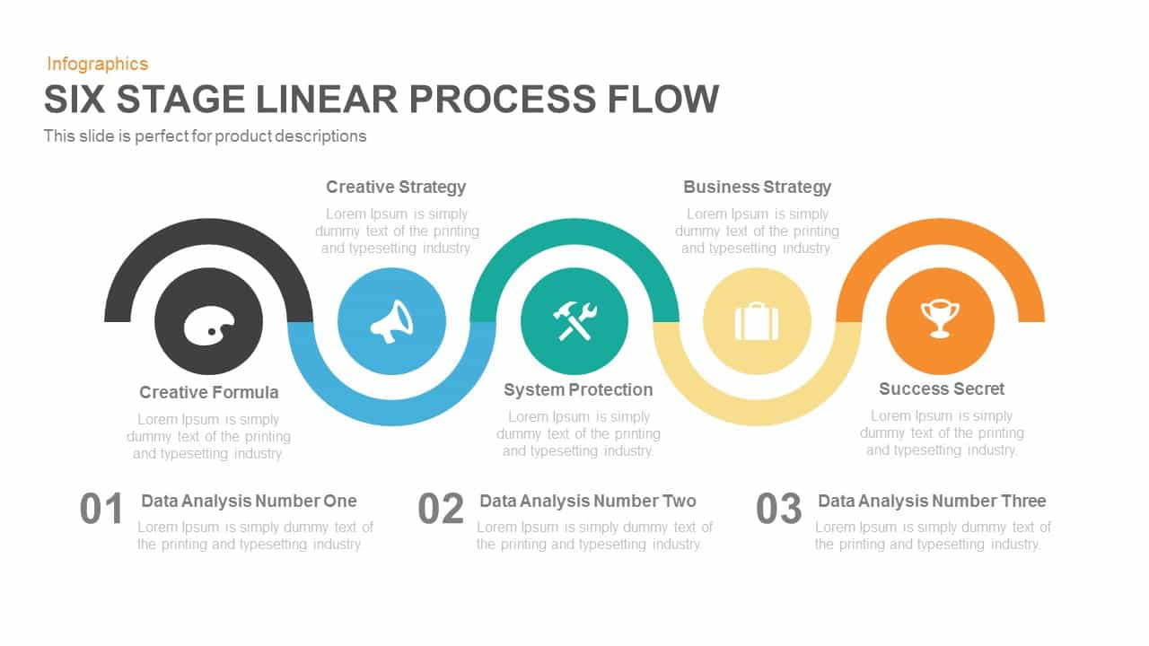 five stage linear process flow PowerPoint template